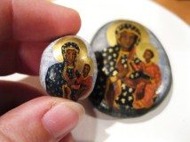 Black Madonna icons, custom painted on beach pebble and rock